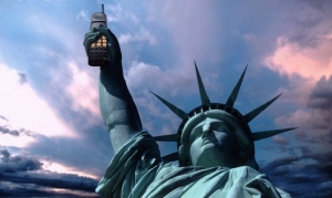 Statue of Liberty holding a cell phone