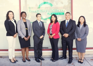 The 2014-2016 Health Equity Fellows (from left to right): Jessica Fuentes, Ozi Uduma, Juan Reynoso, Alheli Cuenca, Francisco Espinoza, and Pang Vang