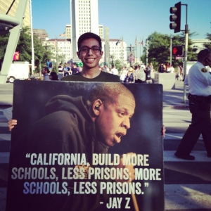 Juan advocating for #SchoolsNotPrisons at a community event in Grand Park, Los Angeles