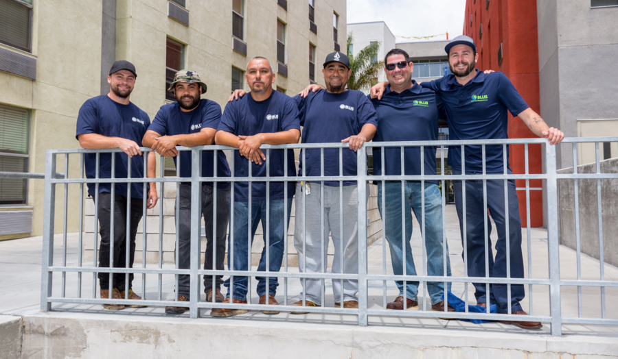 Bottom Line Utilities Solutions crew bringing energy saving upgrades to Island Village apartments in San Diego, CA