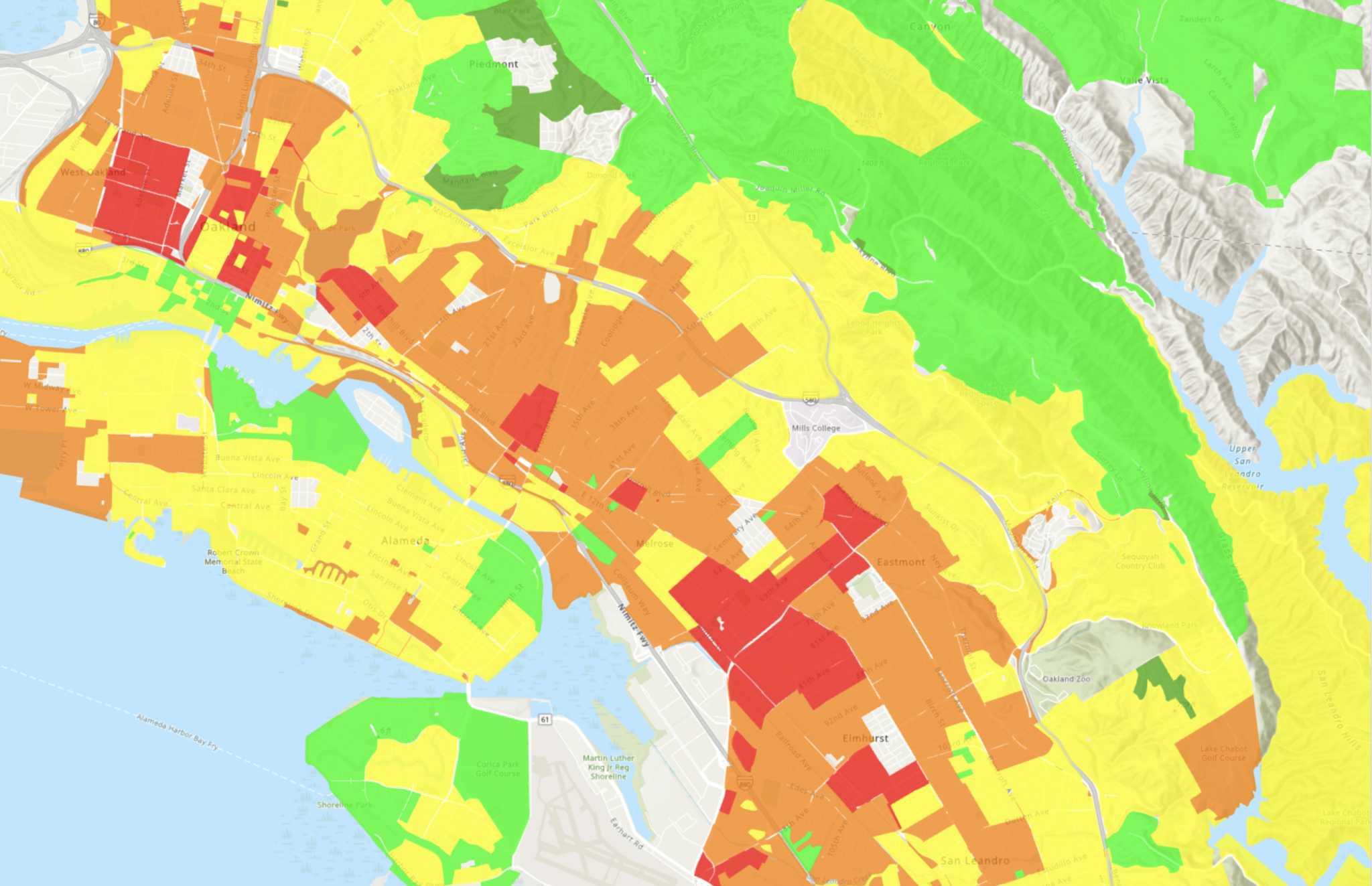 A heat map of the CIty of Oakland's Digital Divide in 2020.